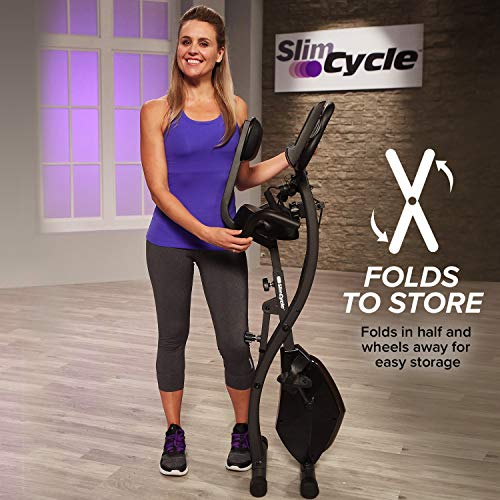 Original As Seen On TV Slim Cycle Stationary Bike – Folding Indoor Exercise Bike with Arm Resistance