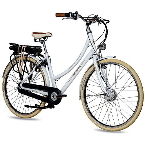 CHRISSON 28 Zoll E-Bike City Bike für Damen - EH1 weiß mit 7 Gang Shimano Nexus Nabenschaltung - Pedelec Damen mit Ananda Vorderradmotor 250W, 36V, 40 Nm, Retro Elektrofahrrad Damen