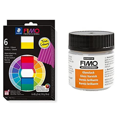 Fimo 8003 01 professional (pasta de modelar) True Colors + Staedtler 8704 01 BK. Barniz brillante transparente con base de agua. Envase individual de 35 ml.