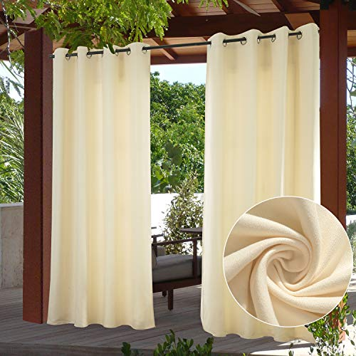 PRAVIVE Outdoor Curtains for Patio Waterproof- Grommet Indoor / Outside Sun Shade Blind for Gazebo Balcony Privacy Suede Blackout Drapes for Balcony /Porch/ Deck, W52 x L95 Inches, Cream Beige, 1 Pc