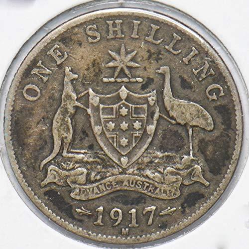 1917 AU Australia 1917 Georgivs V Shilling Kangaroo animal Ostrich VG 901971 DE PO-01