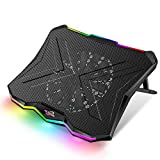 AICHESON Laptop Cooling Cooler Pad 15.6-19 Inch, 1 Big Fan, RGB Illumination, AA3