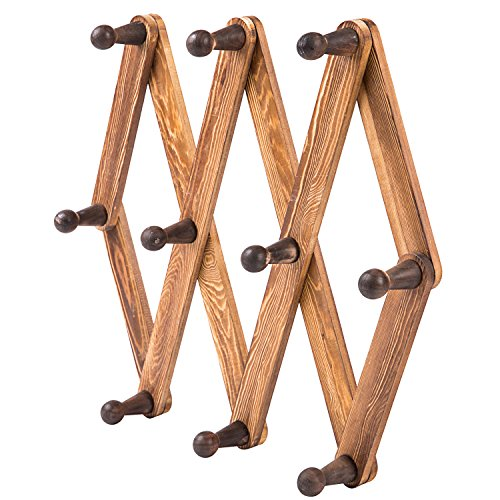 MyGift 10 Hook Burnt Wood Wall Mounted Expandable Accordion Peg Coat Rack Hanger