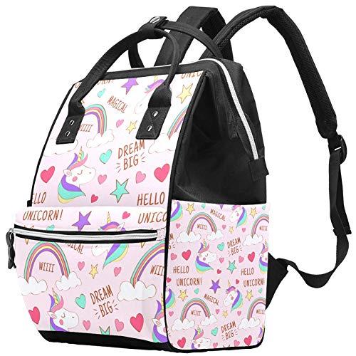 Grand sac à langer multifonction pour bébé Motif licorne Hello Unicorn Sac à dos de voyage pour maman et papa