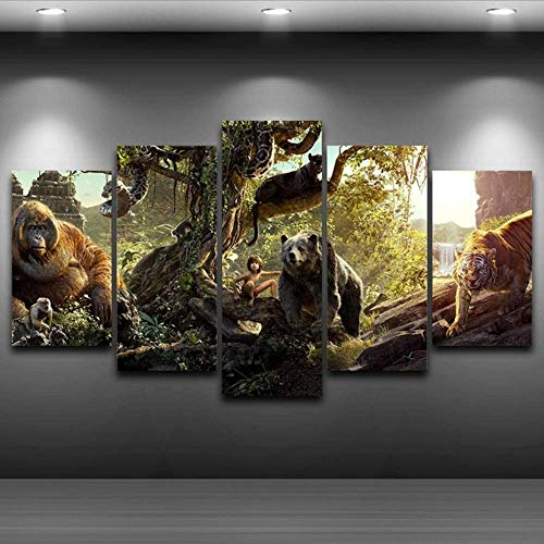 Wuwenw Canvas Oil Painting Home Decor Wall Art Framed Pictures 5 Panel Forest Animals Fairy Tale Poster For Living Room Print,12X16/24/32Inch,Without Frame