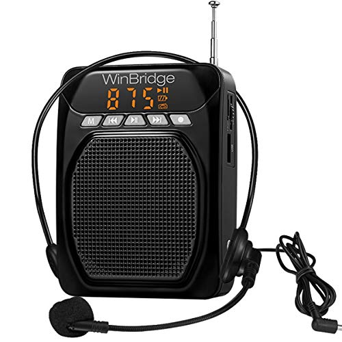 WinBridge Best Voice Amplifier Portable Microphone Headset Personal Pa System Feature Bluetooth/Record, Powered by Rechargeable Battery, Easy to Use for Teachers Voice Amplification