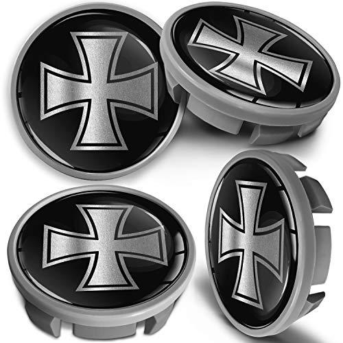 SkinoEu 4 x 65mm Tapas de Rueda de Centro Centrales Llantas Aluminio Compatibles con Tapacubos VW Número de Pieza 3B7601171 / 6U7601171 Negro Plata Cruz de Hierro CVS 4