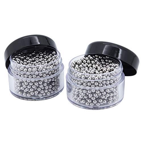 Yuhtech Perline per Pulizia, 2 Pack 2000 Pcs Perle di Pulizia Sfere in Acciaio Inossidabile per la pulizia senza sforzo di bottiglie, caraffe, decanter sfere di pulizia in acciaio inox