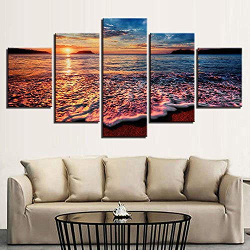 LIBIHUA Hd Drucke Leinwand Modulare Bilder Wandkunst Rahmen 5 Stücke Sonnenuntergang Meer Wellen Seelandschaft Gemälde Strand Poster Wohnkultur Zimmer 150x80cm Rahmen