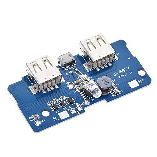 CAIJINJIN Módulo 18650 Dual Micro USB 3.7V a 5V 2A Boost Mobile Banco de la energía de Bricolaje Junta PCB Cargador de batería de Litio 18650 Paso Arriba un módulo con LED