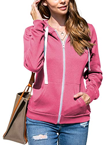 Doublju Lightweight Thin Zip-Up Hoodie Jacket for Women with Plus Size Rosepink Large