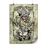 Wellcoda Wikinger Krieger Gesicht Plakat nordisch A1 (84cm