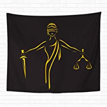 Topyee Home Decorative Tapestry Wall Hanging Justice Goddess Themis Lady Femida Contour Blind Woman Holding 60