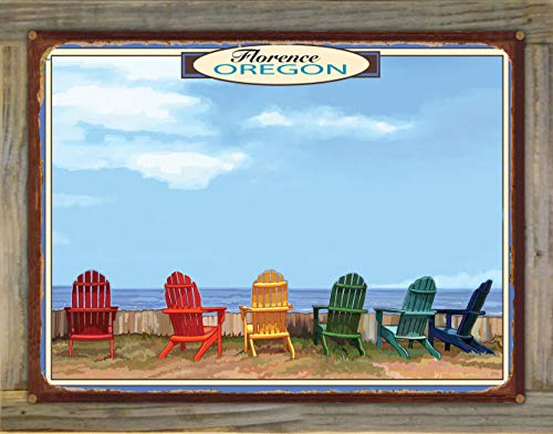 Northwest Art Mall Florence Oregon Adirondack Chairs Rustic Metal Print on Reclaimed Barn Wood from Alla Prima Painting by Artist Joanne Kollman 18' x 24'
