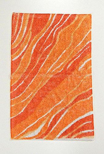 tappeto bagno, tappeto cucina arancio AFFRESCO tappeto fatto a mano 60x140 tappeto cotone super-soft e disegno stampa vintage. Tappeto antiscivolo, tappeto scendiletto. In offerta !