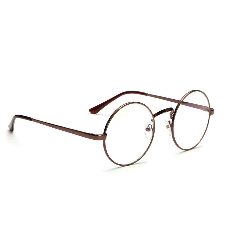 Gold Retro Big Round Metal Frame Clear Lens Glasses Designer Nerd Spectacles Eyeglass
