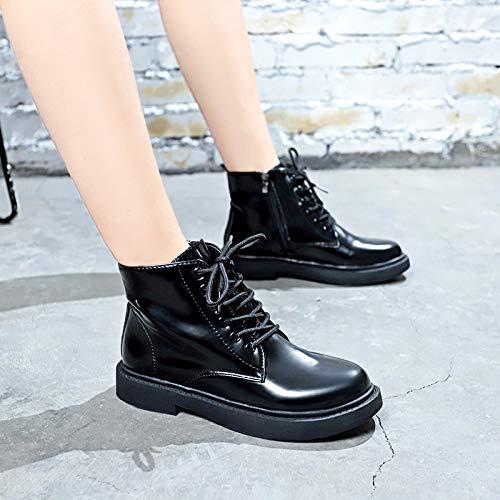 Shukun enkellaarsjes voor dames, voor herfst en winter, platte Martin laarzen, casual kant, motorlaarzen