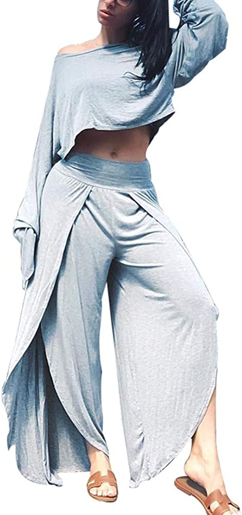 LoVnely Women Casual 2 Piece Outfits Long Sleeve Off Shoulder Crop Top Slit Wide Leg Pants Set Tracksuits