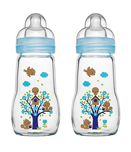 MAM Feel Good Glass Bottle 260 ml Glas Flasche, Doppelpackung, für Junge