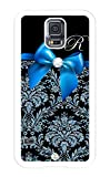 iZERCASE Samsung Galaxy S5 Case Monogram Personalized Blue Ribbon Pattern Rubber CASE - Fits Samsung Galaxy S5 T-Mobile, Sprint, Verizon and International (White)