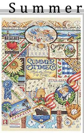 Zamtac Gold Collection Lovely Counted Cross Stitch Kit Spring Summer Autumn Winter Time Sampler janlynn Four Seasons Season - (Color: Summer, Cross Stitch Fabric CT Number: 14CT unprint Canvas)