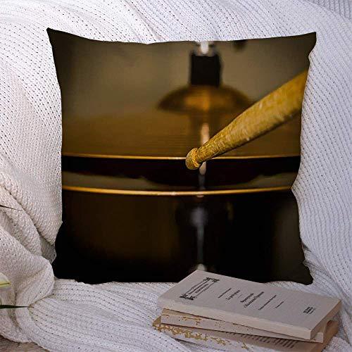 Fundas decorativas para cojines para sofá cama, percusión para sofá, metal, plata, banda de rock, toca el palillo del tambor, en Hihat Ride, latón, bronce, primer plano, funda de cojín suave de cobre