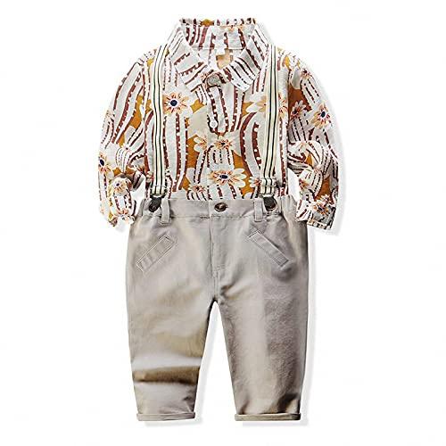 GHQYP Ropa Bebe Niño,Traje de Primavera para Niños, Camisa Estampada de Manga Larga para Niño + Pantalón con Tirantes, Conjunto de 2 Piezas,80CM(9~12Months)