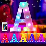 Elnsivo Colorful LED Marquee Letter Lights Light Up 16color Changing 26 Alphabet Initial Name Sign Remote Control Multi Color Led Letters for Wedding Party Christmas Home Bar Decoration(RGB Letter A)