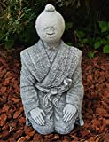 Steinfigur Samurai japanische Deko handbemalt Zen-Garten Balkon Fensterbank Wohnzimmer Gartenfiguren frostfest