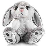 My OLi 8' Bunny Plush Rabbit Floppy Ear Sitting Bunny Stuffed Animal Gray Easter Gifts for Babies Kids Boys Girls