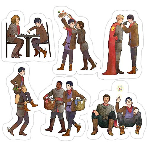 Sticker Vinyl Decal for Cars, Water Bottle, Fridge, Laptop - Merlin & The Knights - Sticker Set Stickers (3 Pcs/Pack)