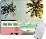 Alfombrilla de ratón inspirada Playa Surf Decoración de escritorio.Minivan Tema de vacaciones retro Nubes en verano Cielo Luna de miel Destino Alfombrilla de goma antideslizante-10x12inch