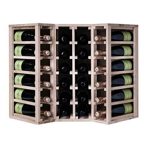GLYYR Weinregal Square Weinregallagerung für Weinflaschen in einem Weinträger aus Holz (Kiefer, 40 Flaschen) (Color : Oak, Size : 24 Bottles)