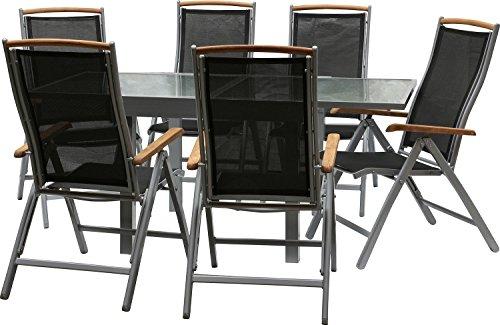 IB-Style - DIPLOMAT-Quadro Gartengarnitur | 6 Kombinationen - mit Klappstühle | Alu SILBERMATT + TEAKHOLZ + Textilen SCHWARZ | 6 Kombinationen | Ausziehtisch mit Sicherheitsglas 90 - 180 cm | Klappstühle Gartenmöbel Hochlehner Tisch | 7-teilig