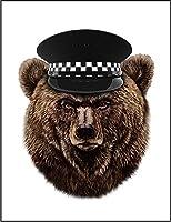 【FOX REPUBLIC】【グリズリーベア クマ 熊 警察官 帽子】 白マット紙(フレーム無し)A4サイズ