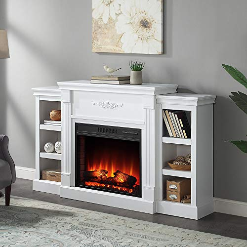 Della 70 in. Electric Fireplace with Enhanced Log Display and White Mantel, CSA Certification