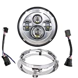 Star Headlight Products - TRUCKMALL 7 inch LED Headlight, Sealed Housing, with Bracket Mounting Ring for Harley Davidson Touring Ultra Classic Electra Street Glide Fatboy Heritage Softail Slim Deluxe Switchback Road King