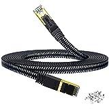 HiiPeak Cable Ethernet 30 metros Cat 8 Nailon Plano, Cable Red Lan Alta Velocidad 40 Gbit/s y 2000 Mhz con Conectores Rj45 Chapados en Oro, Cable internet