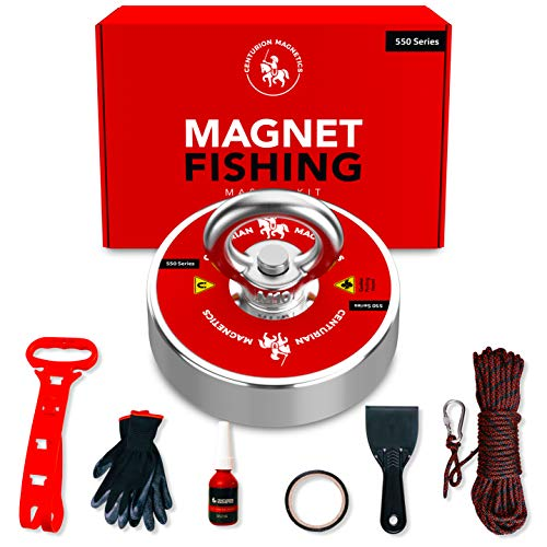 Centurion Magnetics Magnet Fishing Kit - Super Strong Magnet with 550 lb Pull Force, Rope, Gloves, Threadlocker, Carabiner, Scraper - Neodymium Fishing Magnets for Underwater Salvage Magnetic Fishing