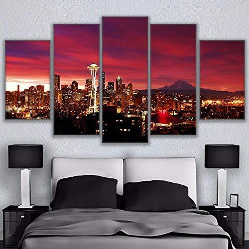 Yftnipl 5 Piezas De Pared Fotos Cuadros En Lienzo Cielo Nocturno Paisaje Urbano De Seattle Lonas De Hd Imprimir Modern Artwork Decoración De Arte De Pared Living Room