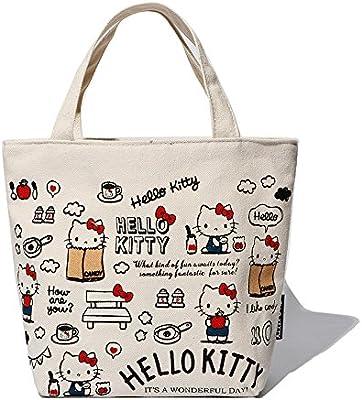 Hadaboo Hello Kitty Canvas Kids Lunch Bag mochila Women Shopping Storage Bag