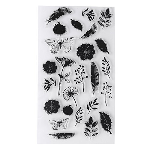 Muster Transparent Silikon PVC Planer Stempel Scrapbooking Karte Tagebuch Album Blume Pflanze Musik Briefmarken(Y19-Schmetterlingsliebe)