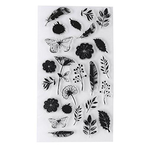 Multi Patrones Transparente Silicona Transparente Flor Planta Sellos de Música Ecológico PVC Planificador Juegos de Sellos Kid Adult DIY Craft Scrapbooking Card Making Diario Papelería Herramienta