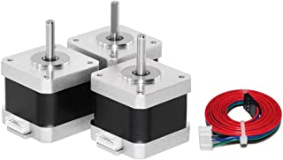 Usongshine Nema 17 Stepper Motor 42 Motor 1.5A (17HS4401) High Torque 42N.cm (60oz.in) 42BYGH 1.8 Degree 4-Lead with 1m Cable and Connector for DIY CNC 3D Printer (Pack of 3)