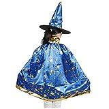 SODIAL(R) Disfraces de Halloween Capa de mago bruja con sombrero para ninos chicos chicas Azul