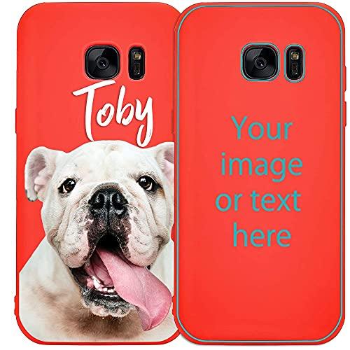 My Printery Funda Personalizada para Samsung Galaxy S7 Edge Carcasa de Silicona TPU Resistente para Personalizar con Fotos, Imagen, Logotipo, Dibujos Rosado