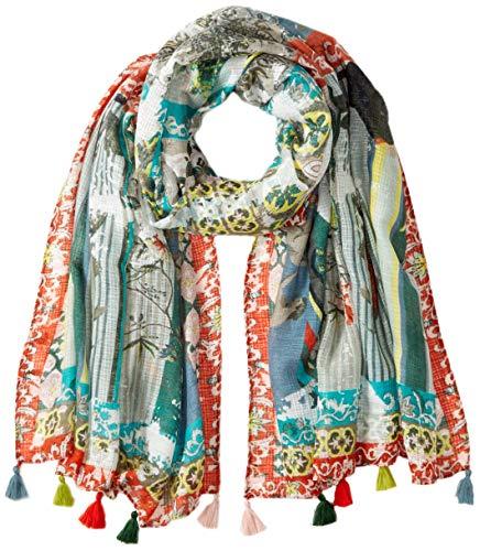Desigual Damen FOUL_PATCHWORK TUCAN Schal, Weiß (Tiza 1010), One Size (Herstellergröße: U)