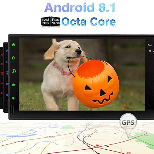 """Best WiFi Model Android 8.1 Oreo Octa-Core 7"""" Full Touch-Screen Universal Car Video Player in Dash 2 Din Stereo GPS Navigation with Built in Bluetooth 2GB RAM 32GB ROM"""