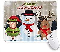 NIESIKKLAマウスパッド クリスマスサンタエルフとトナカイスノーパイン ゲーミング オフィス最適 高級感 おしゃれ 防水 耐久性が良い 滑り止めゴム底 ゲーミングなど適用 用ノートブックコンピュータマウスマット
