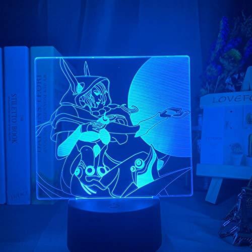 3D Illusionslampe Led Nachtlicht League Of Legends Xayah Figur Buntes Geschenk für Gamer Kinder Bedoom Dekor Tischlampe Lol The Rebel
